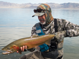 Michael Carl catches Lahontan Cutthroat out of  Pyramid Lake Nevada.