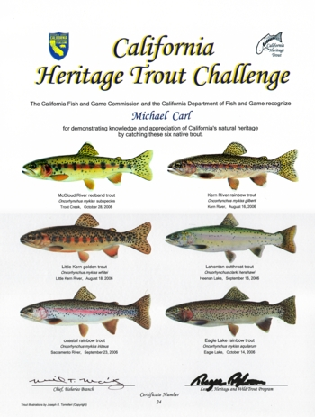 California Heritage Trout Challenge Certificate